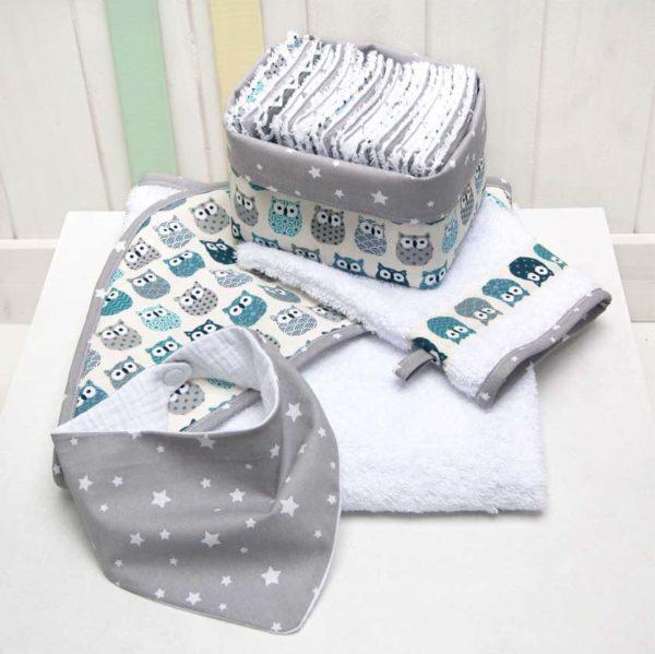Les Jolies Zabeilles-ensemble de toilette-cape de bain- lingettes lavables-bavoir- accessoire enfant