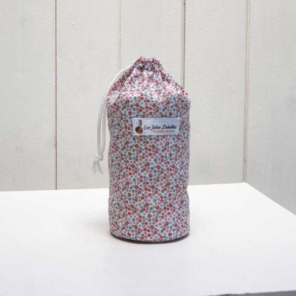 pochon et ses 20 disques à démaquiller lavables fleuri rose