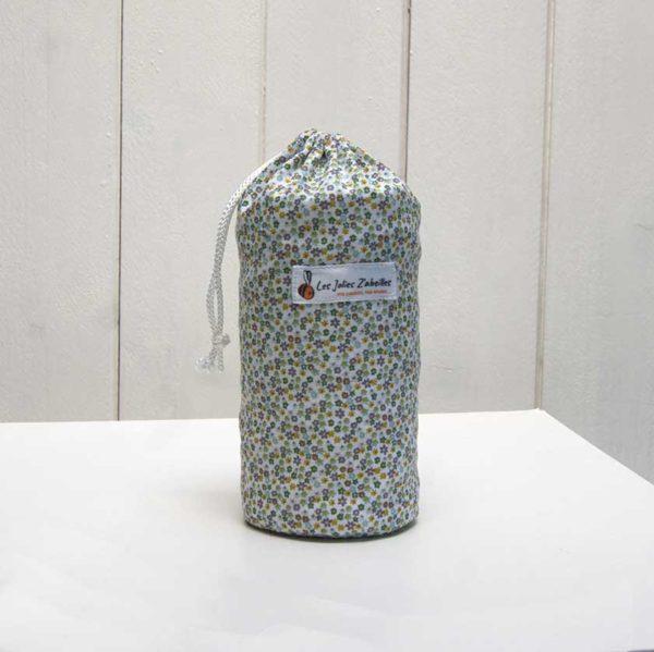 pochon et ses 20 disques à démaquiller lavables fleuri vert