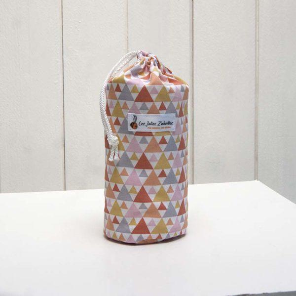 pochon et ses 20 disques à démaquiller lavables triangles orange, gris, jaune