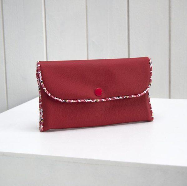 porte-monnaie rouge et motif éventails