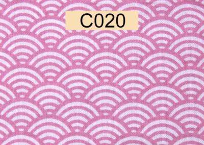 tissu coton blanc écailles roses référence C020