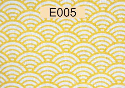 tissu coton blanc écailles jaunes référence E005