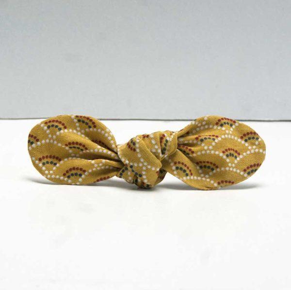 nœud élastique cheveux moutarde motif écailles avec élastique