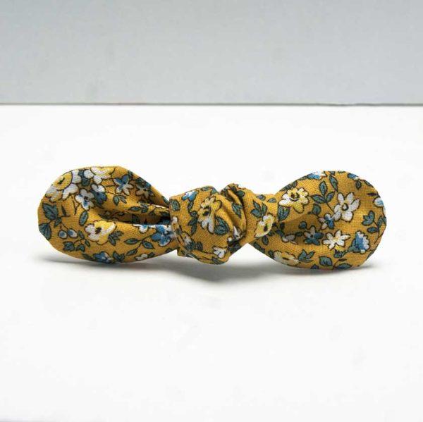 nœud élastique cheveux fleuri jaune avec élastique