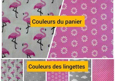panier et 20 lingettes rose et gris motif flamant rose référence 03