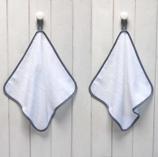 serviette invité blanche biais gris