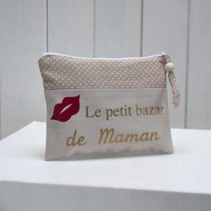 """trousse à maquillage beige/beige à pois """"Le petit bazar de Maman"""""""